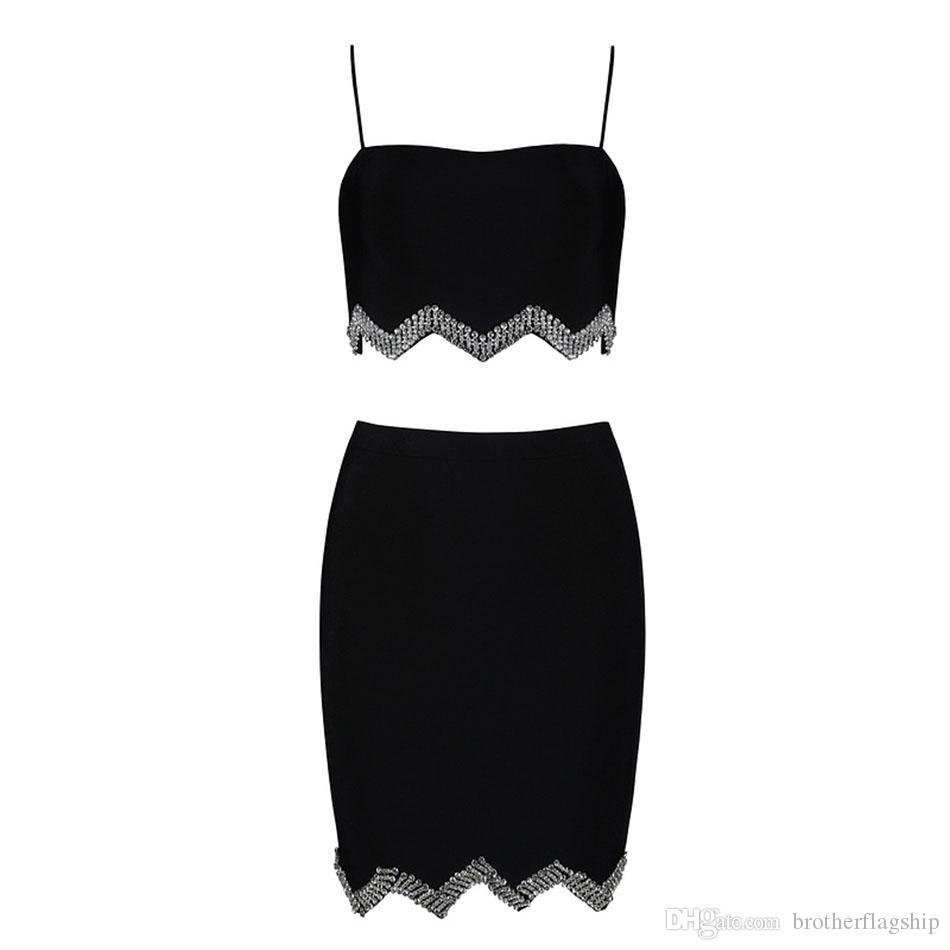 New Summer Women Bodycon Bandage Set Dress Vestidos 2 Two piece Set Top&Skirts Diamond Celebrity Evening Party Dress