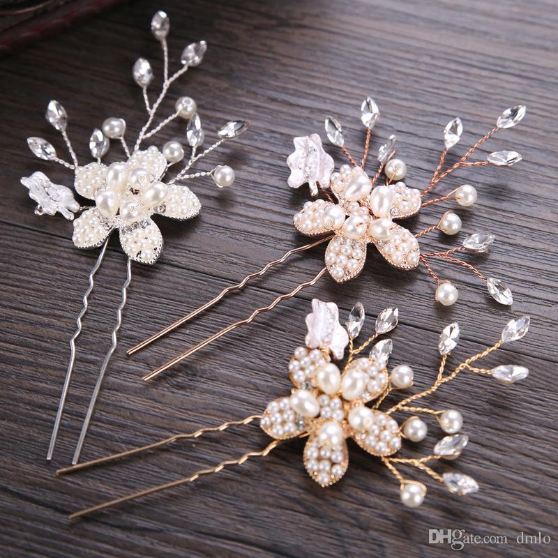 Wedding Bride Pearl Flower Crystal Hair Pins Clips Bridal Accessories
