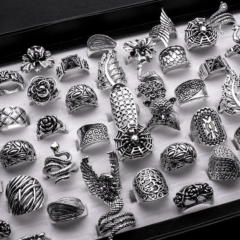 25 Stück Mix Frauen-Weinlese-Ring-Großverkauf-Antike-Silber überzogene Boho Gothic Blatt Blume Statement Ringe Männer Schmuck