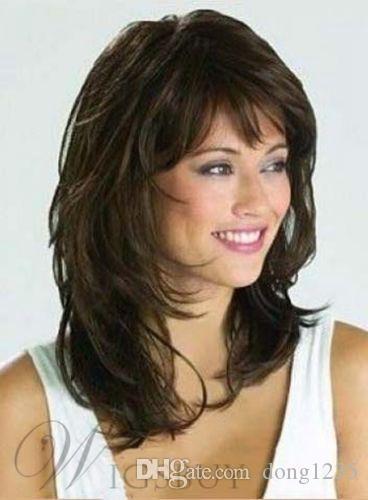 Agraciado medio ondulado marrón natural 14 pulgadas peluca sintética HairFree envío Nueva peluca de alta calidad de la imagen de moda