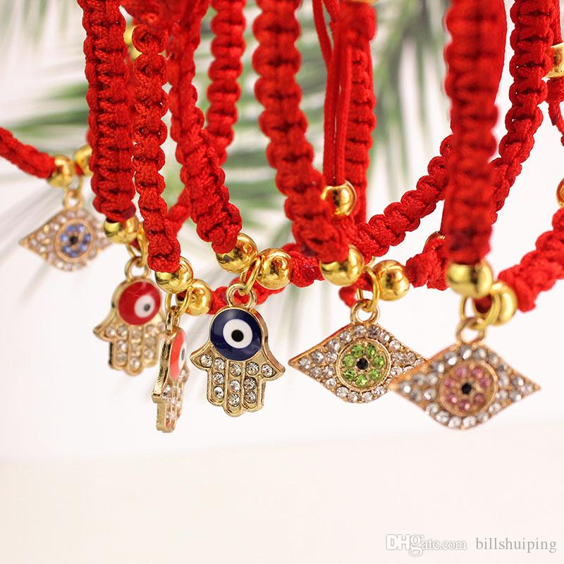 China Red String Bracelet Evil Eye Palm Bead Protection Health Luck Happiness Charm Bracelets Jewelry Free shipping