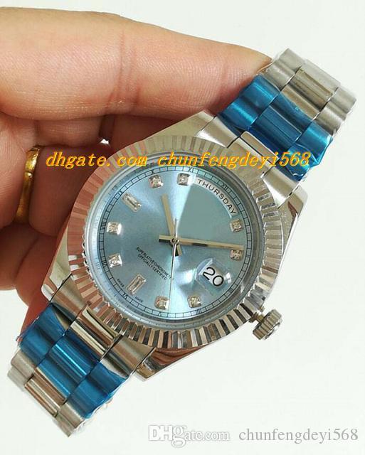 Luksusowe zegarki 41mm ze stali nierdzewnej 18K rzucony bezel Watch-Ice Blue Diamond Dial Automatyczny Moda Marka Zegarek męski Zegarek