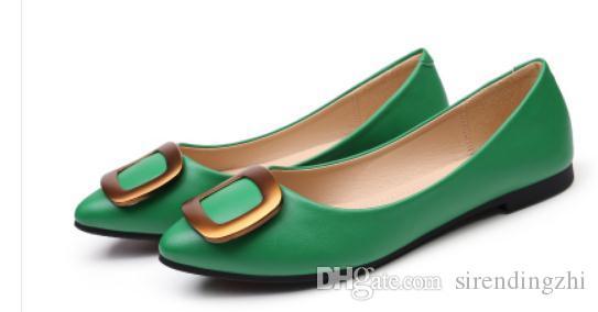 Gratis enviar 2018 otoño nuevo estilo de fondo plano Boca baja extremo puntiagudo final moda zapatos de mujer