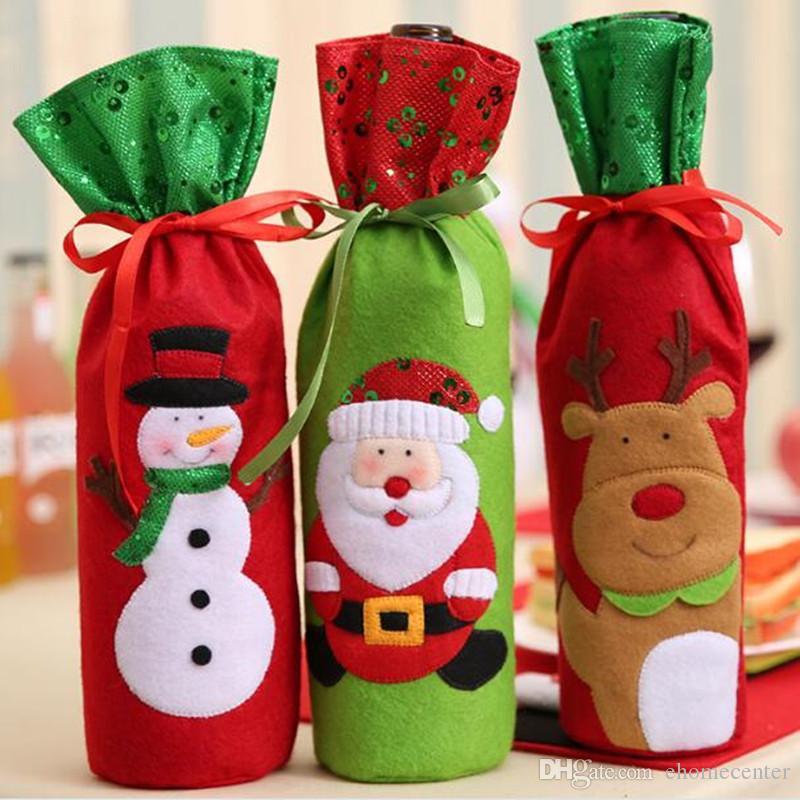 Santa red wine bottle bag Gift bag Father Christmas Cutlery Tableware Holder bottle Bag Cover Decor Suit Table Decorations HQ044