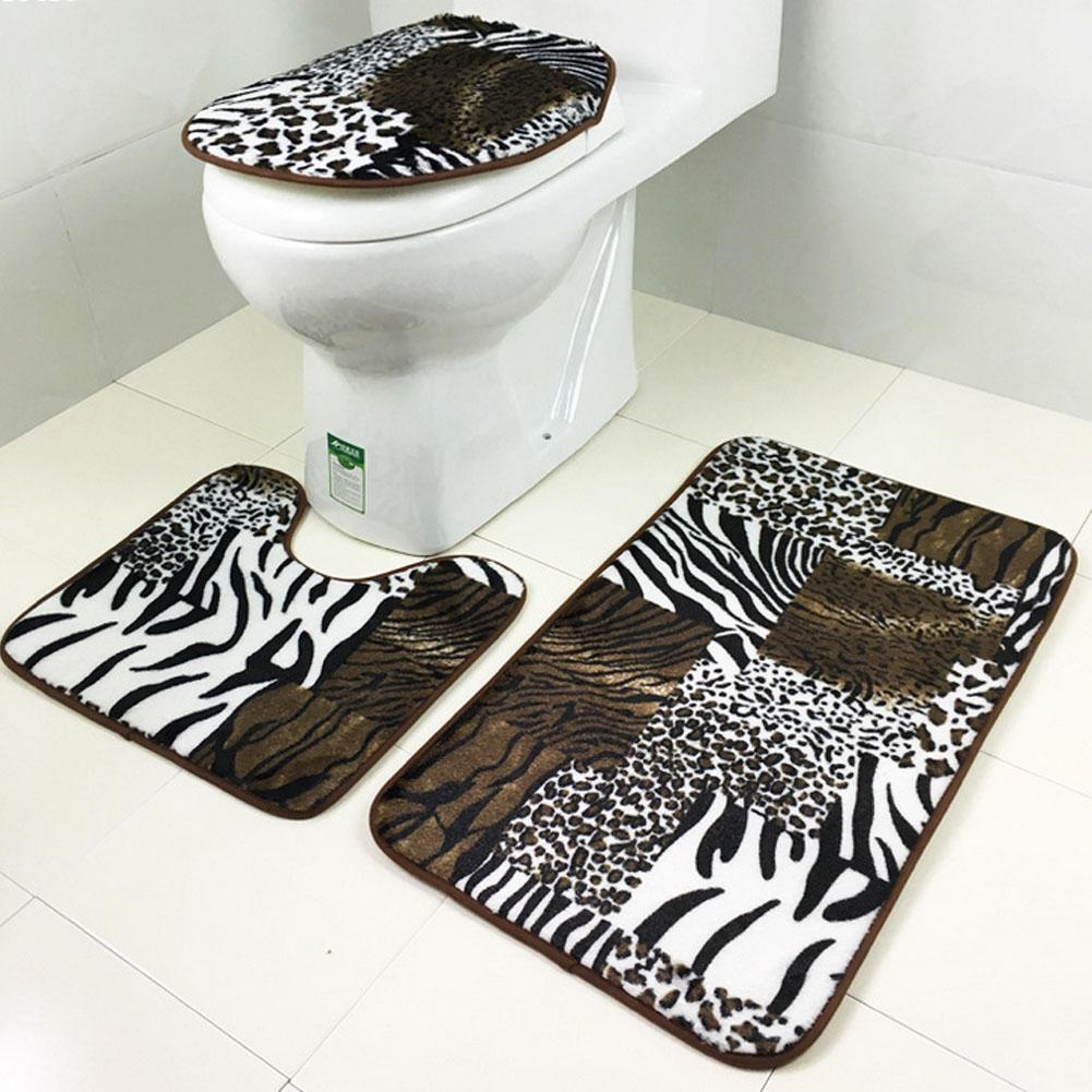 Großhandel 10 Teile / Satz Tiger Leopard Muster Anti Silp Badematte Flanell  Kontur Teppich Deckel Toilettendeckel Teppich Badezimmer Set # 10 Von