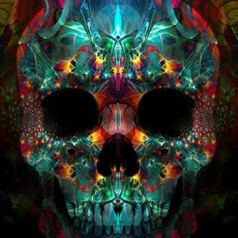 Colorful Skull Full Drill DIY Mosaic Needlework Diamond Painting Embroidery Cross Stitch Craft Kit Wall Home Hanging Decor