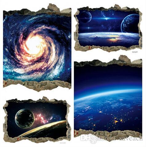 3D космическое пространство Звезда Планета стены для детская комната декор Galaxy Art росписи наклейки главная гостиная украшения съемный пол наклейки