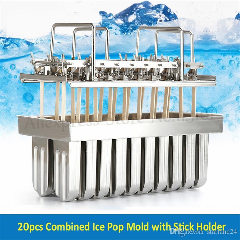 Popsicle Kalıp Buz Pop Aracı 20 adet / Toplu Buz-lolly Kalıp Paslanmaz Çelik Dondurma Kalıp Sopa Tutucu ile