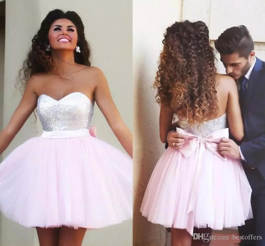 2018 Short Sweetheart Homecoming Dresses A-Line Tires Tulle Sequins Top 8th Graduation Dresses with Pink Bow Sash Girls Prom Gowns Custom