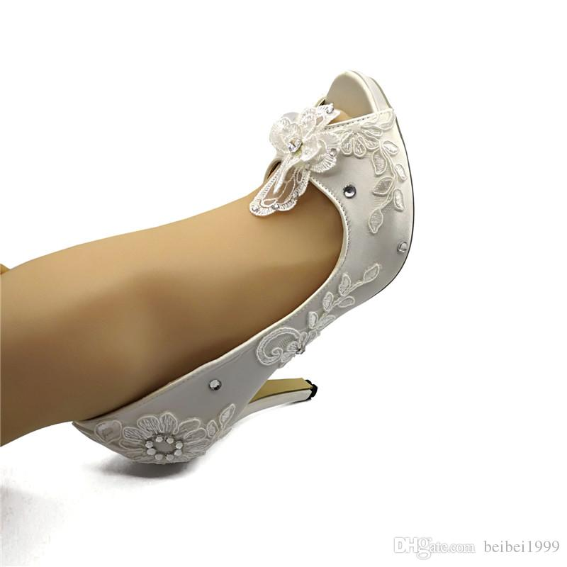 Handcrafted Ribbon Lace satin Flower Bridal Shoes Wedding Party Dancing Shoes Beautiful Bridesmaid Shoes Peep Toe high heel size EU35-41