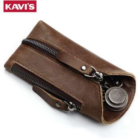KAVIS Echtes Leder Haushälterin Schlüsselmappe Smart Car Bag Pouch Ring Wrap Fo Organizer Fall Mann Mit Münze Kartenhalter Schlüsselbund