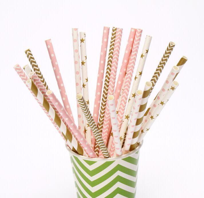 (100 개 조각 / 많이) 핑크 골드 종이 빨대를 들어 웨딩 테이블 장식 케이크 롤리팝 스틱