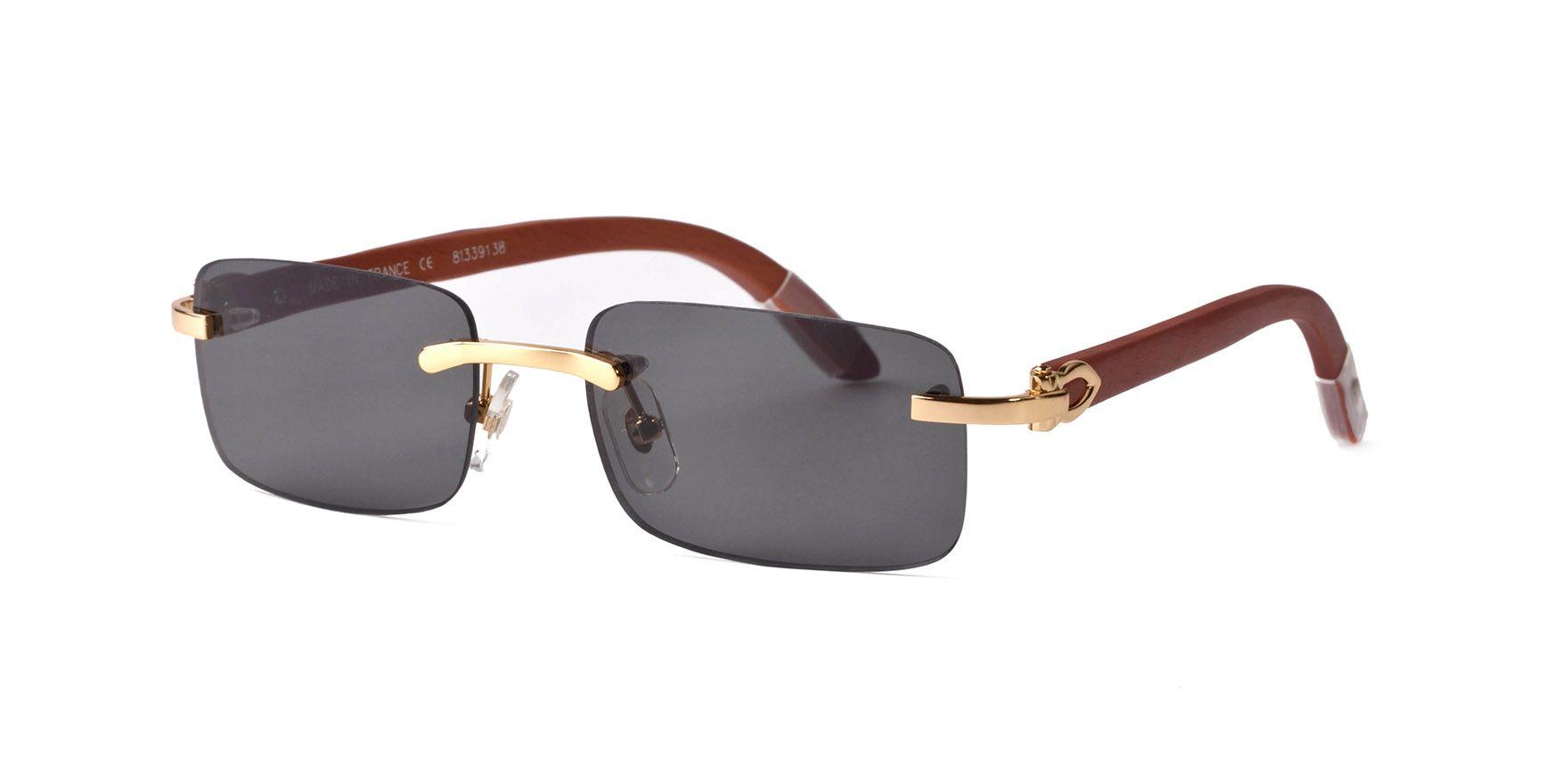 2019 best-selling Designer Buffalo Horn Mens Retro Wood Sunglasses Mens and Womens Lens Frameless brand designer Driving Glass
