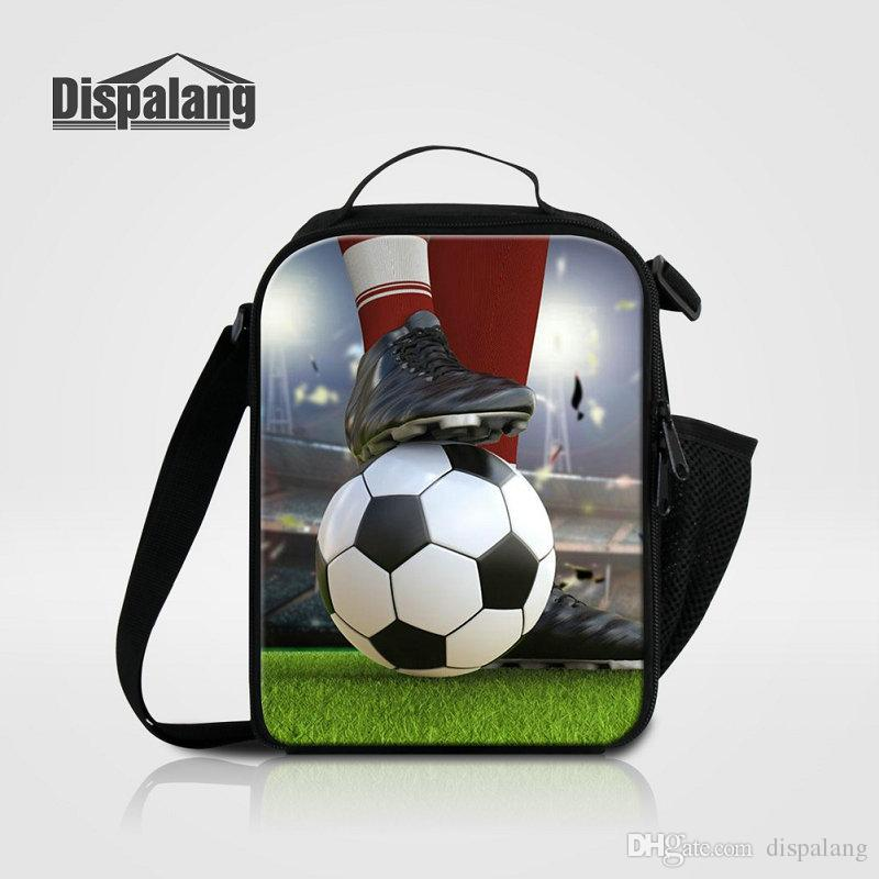 Newest Thermal Food Picnic Lunch Bags For Men Custom Soccer Printing Kids Cooler Lunch Box Bag For Boys Insulated Lancheira School Meal Bags