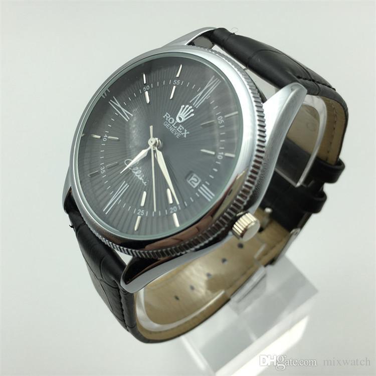 Data in pelle orologi del quarzo degli uomini della vigilanza di modo di moda militare Orologio Uomo Orologio sport maschio impermeabile del cronografo militare Reloj Hombre