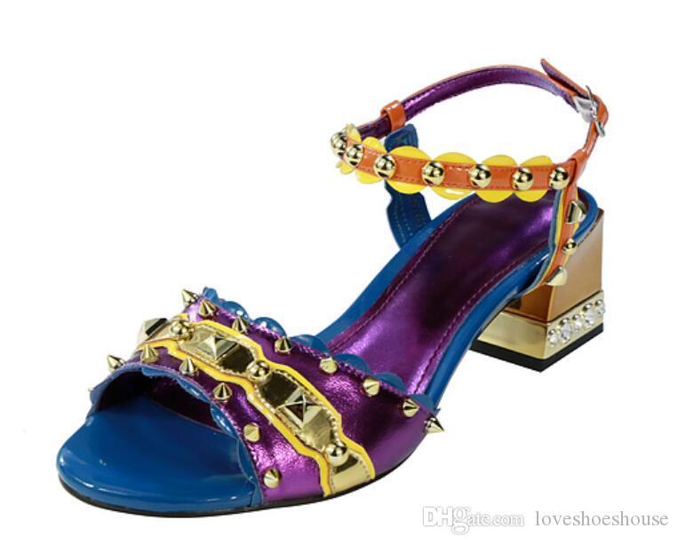2018 nuove donne spike borchie sandali scarpe celebrità mix colore tacchi alti scarpe da sposa tacco grosso signore partito scarpe sandali vintage