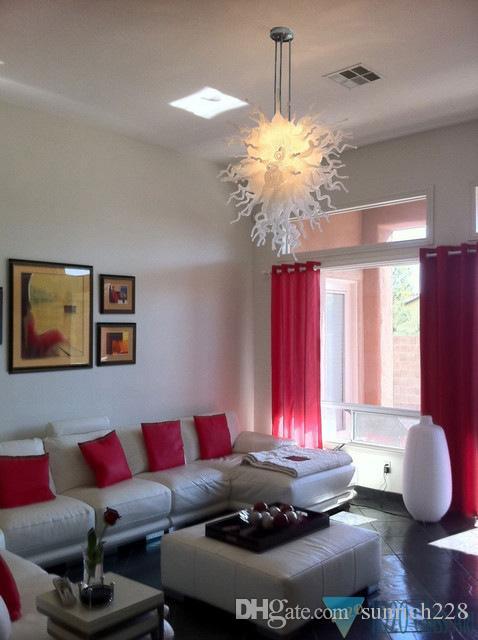 Modern Art Decoration White Hand Blown Glass Hanging LED Chandelier Light High Ceiling Decorative Modern Crystal Pendant Lamps
