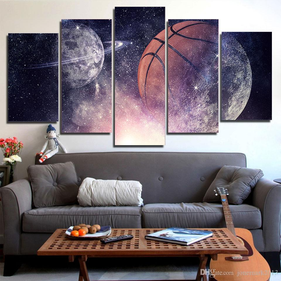 5 Piece HD Printed Canvas Art Painting Playing Basketball Poster Starry Sky Wall Pictures for Home Decor Free Shipping CU-2995C