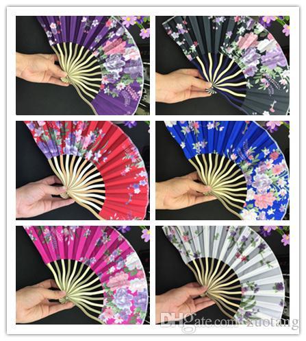 Ventilateur de main pliant chinois en bambou coloré en soie 100 pcs