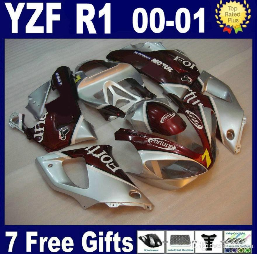 Kit carena di alta qualità per Yamaha YZF R1 2000 2001 carenatura rosso argento set YZFR1 00 01 GF47