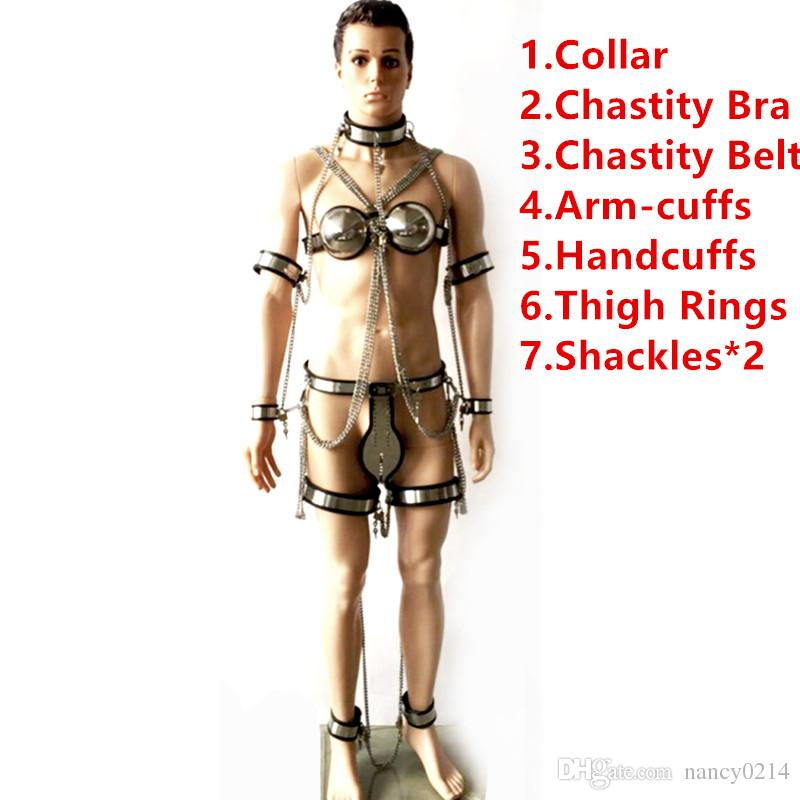 8in1 Chastity Device (Collar+Handcuffs+Bra+Arm Cuffs+Chastity Belt+Thigh Rings+Shackles) Chastity Pants Sex Fetish Bondage Toys for Men G89