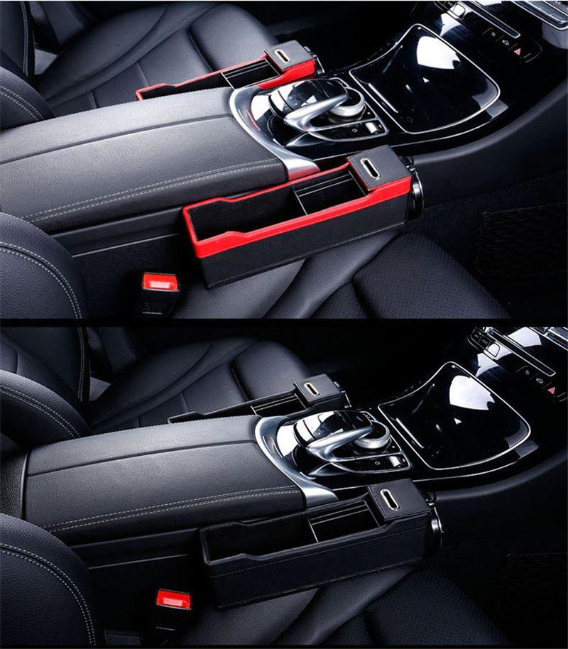 2PCS/SET Car Organizer Leather Catch Catcher Box Caddy Car Seat Slit Gap Pocket Storage Glove Box Slot Box Leather Storage