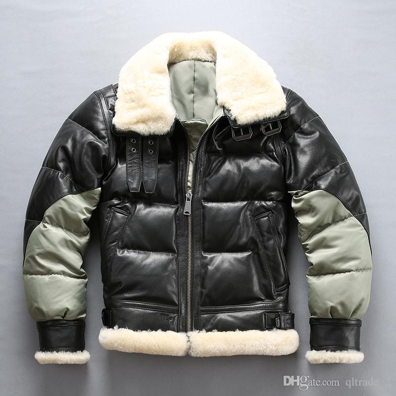 AVIREX épissure doudounes USA B3 vestes de vol de l'armée de l'air Flocage en peau de mouton double face manteaux de fourrure