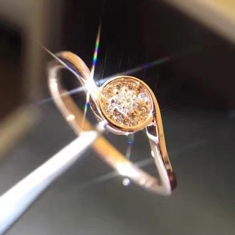 Diamond Ring Ma'am Propose Marry Diamond Ring 18k Gold Circle Angel Of Kiss Rose Golden Group Preceptos femeninos A911