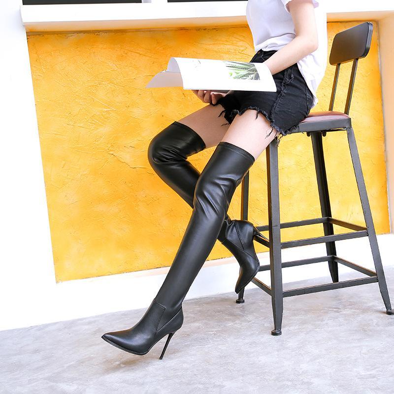 Yeni kadın moda elastik çizmeler yumuşak deri sivri 11 cm stiletto topuk soba borusu diz uyluk üzerinde yüksek patik 906-31
