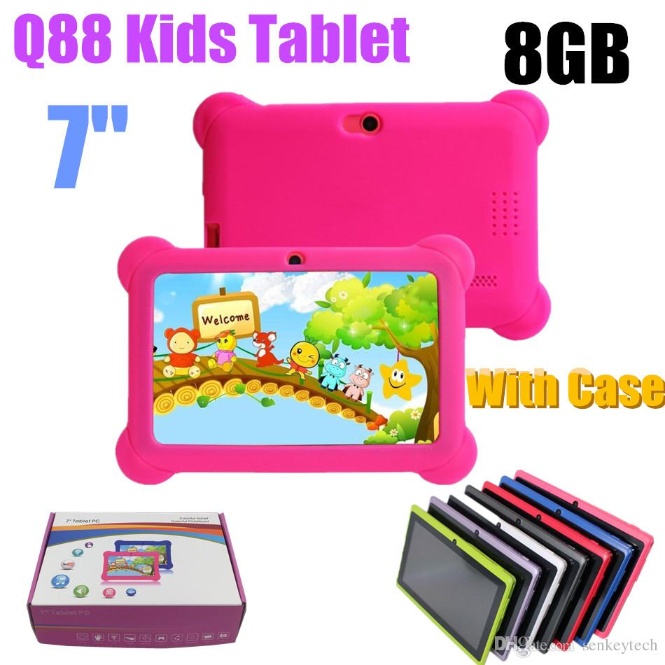 Q88 7inch Kids Tablet A33 Quade Core 8GB 512MB Android 4.4 5.1 Tablet PC Support TF Card with Soft Silicon Case