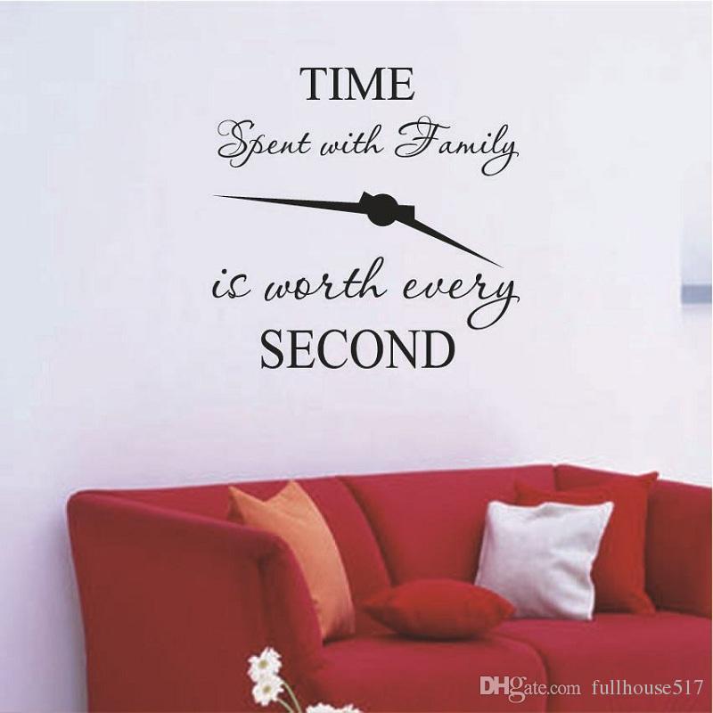 Acheter Le Temps Passé En Famille Est Worth Every Second Stickers Muraux Amovibles Art Bricolage Autocollant Famille Citations Home Decor De 2 0 Du