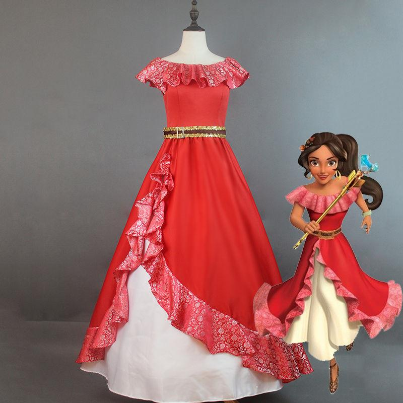 Compre Elena De Avalor Princesa Elena Traje De Cosplay Vestido Bordado Rojo Disfraces De Halloween Para Mujeres Adultas Vestido De Fiesta A 12539