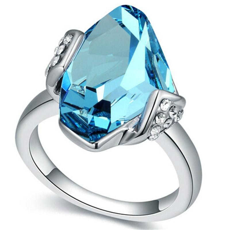 Blue Big Crystal from Swarovski Wedding and Engagement Rings For Women Silver Color Fashion Jewelry Gift 17785