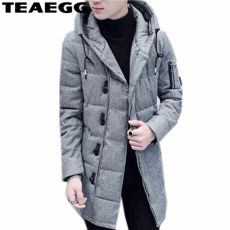 TEAEGG Hooded Cotton Padded Men Winter Jacket 2017 Warm Mens Winter Jackets Coat Outwear Parka Homme Plus Size 3XL ClothingAL257