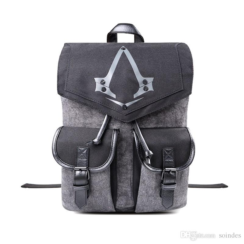 Assassins Creed Distribuir Logo Mochila Flap bolsillo unisex gris bolsa de manera suave manejar la Bolsa Mochila de la escuela adolescente