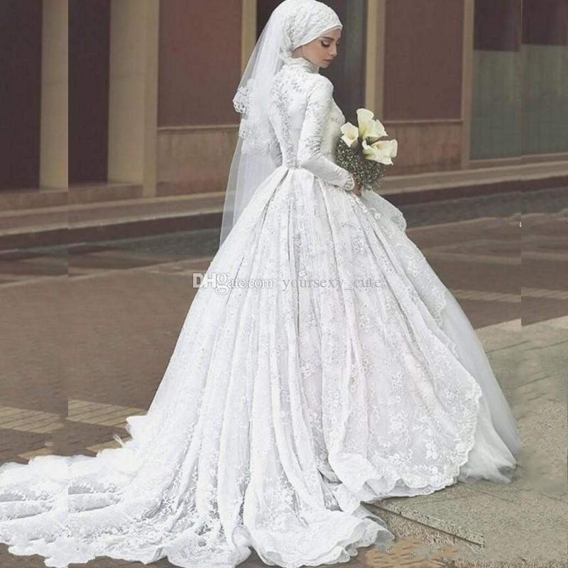 Elegant Lace Muslim Wedding Dresses High Neck Long Sleeves Tulle Ball Gown Church Bridal Dresses Vintage Wedding Gowns