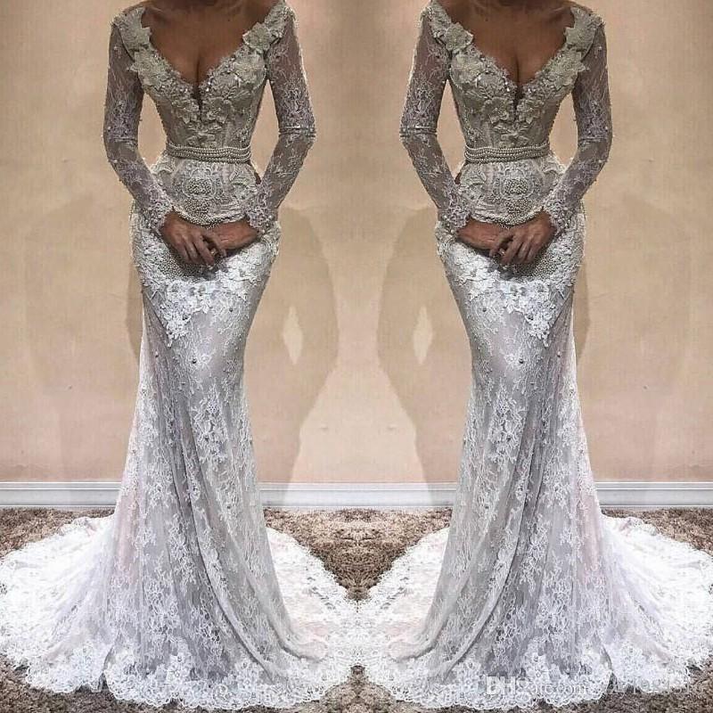 Gorgeous Pearls Applique Wedding Dress Sexy V-Neck Long Sleeves Beads Lace Mermaid Wedding Dress Stylish Plus Size Dubai Vestido De Novia