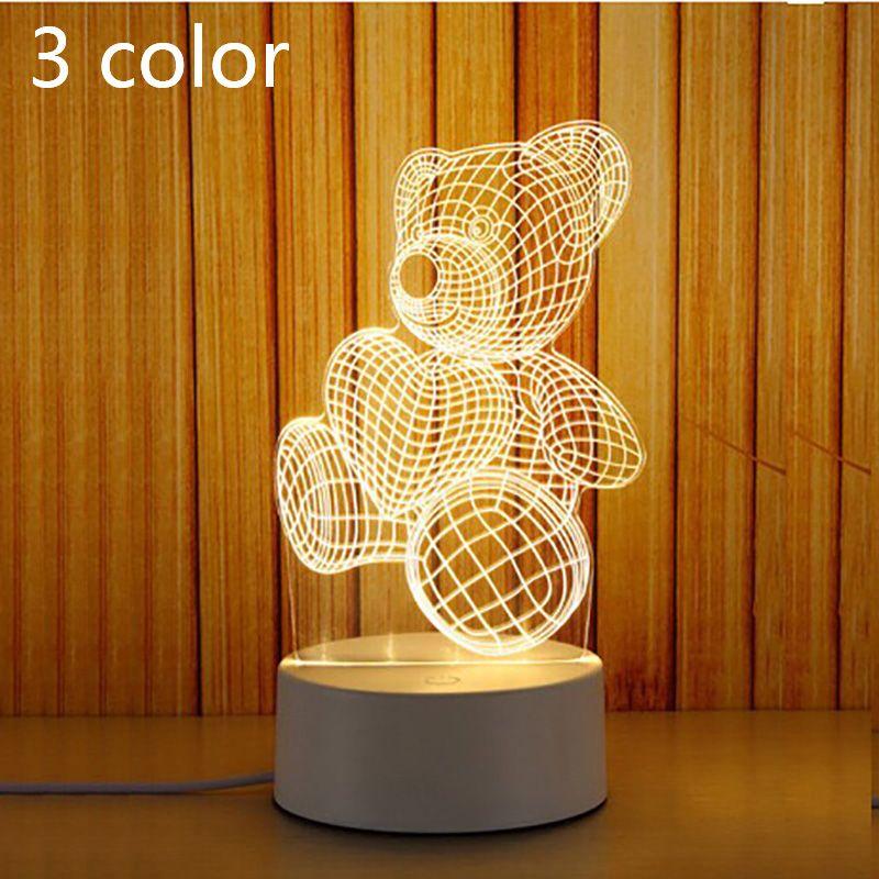 3D Led Night Light новинка настольная лампа Home Decor прикроватная 3d лампа 2018 Новый 3 Цвет любовь медведь