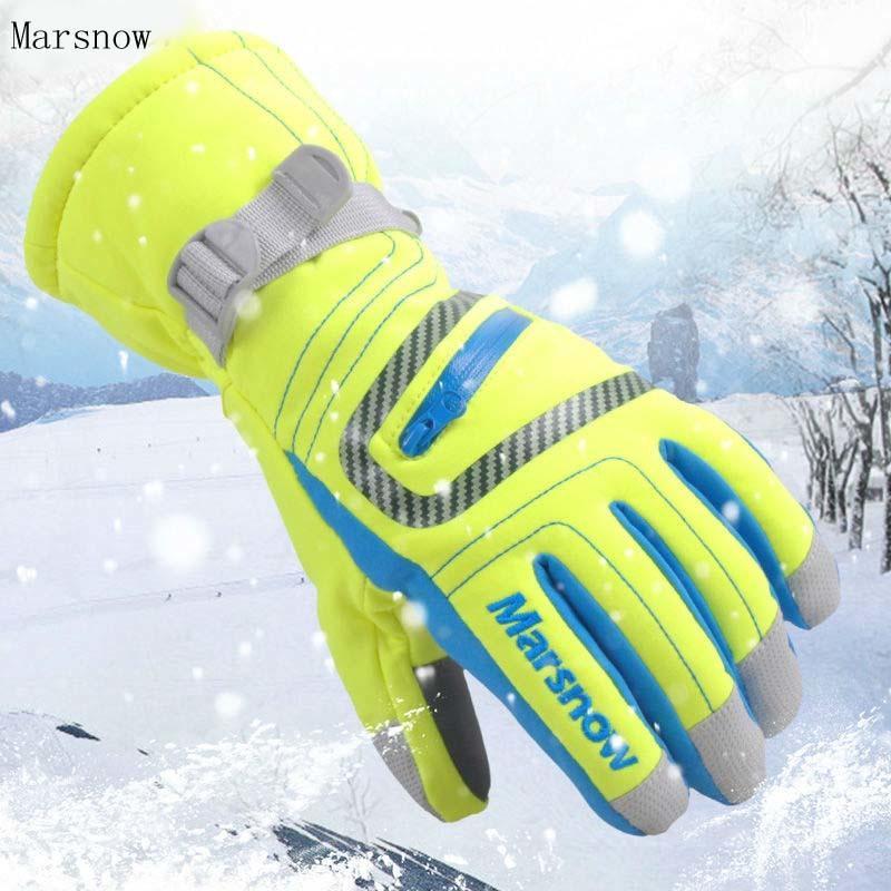 -30 degrés Marsnow Marque Hommes Femmes Ski Neige Équitation Gants Coupe-Vent Sport En Plein Air Thermique Snowboard Hiver Neige Gants De Ski C18111501