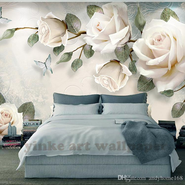 Custom Photo Wallpaper Painting 3d White Rose Flowers Wall Murals Living Room Tv Sofa Backdrop Wall Paper Modern Home Decor Room Download Wallpapers
