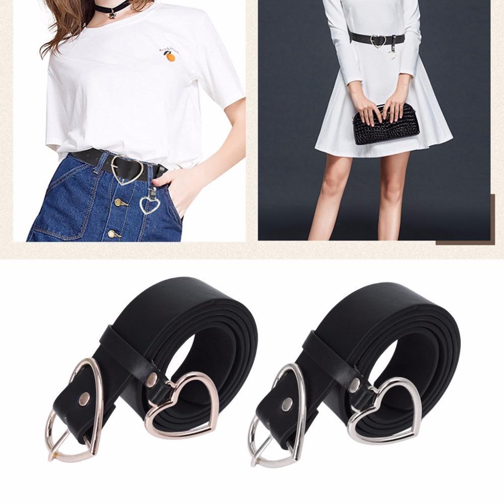PU Leather Belt for Women Metal Heart Corset Wedding Party Dress Harajuku Belt