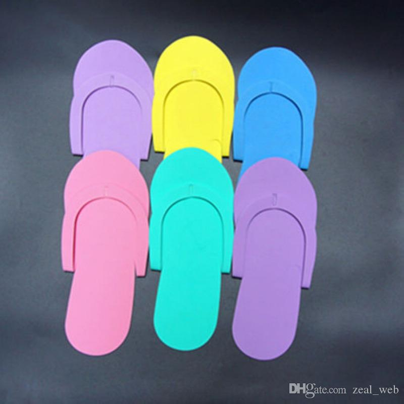 Cheapest!!! Disposable Foam Pedicure Slippers candy color beach Flip Flop Salon Pedicure Foot Spas Separators Nails Art Beauty Slipper