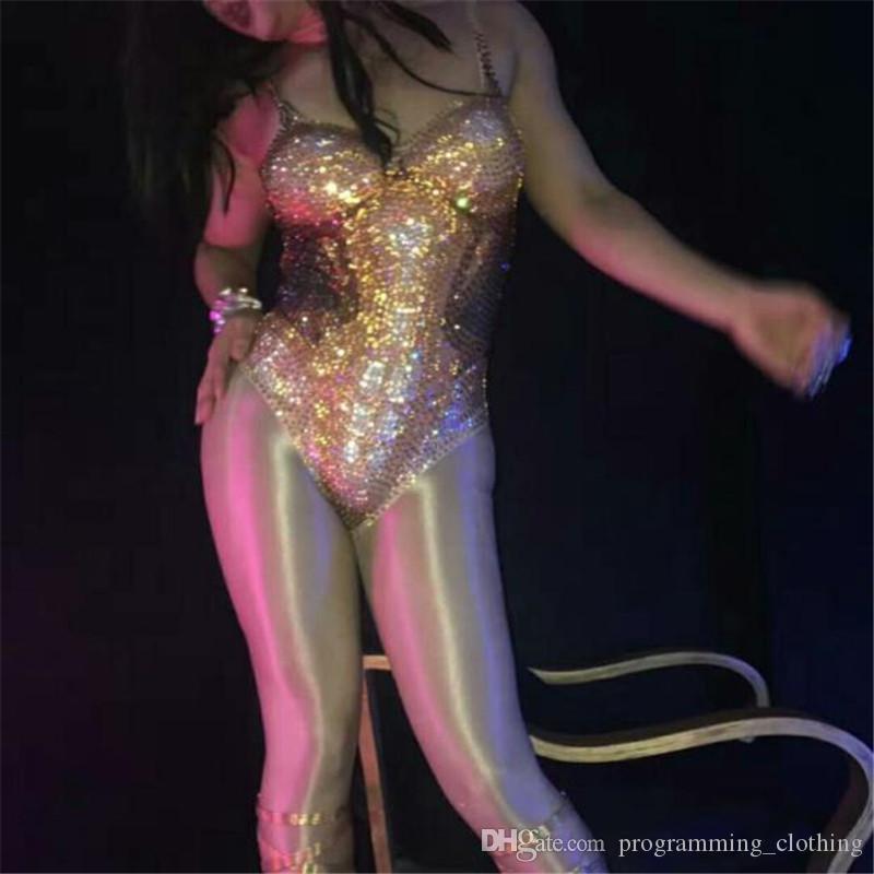 F79 cor de Ouro sexy macacão strass mulheres dj ds bodysuit festa bar performance outfit stage show modelo veste trajes de baile de formatura clube de baile
