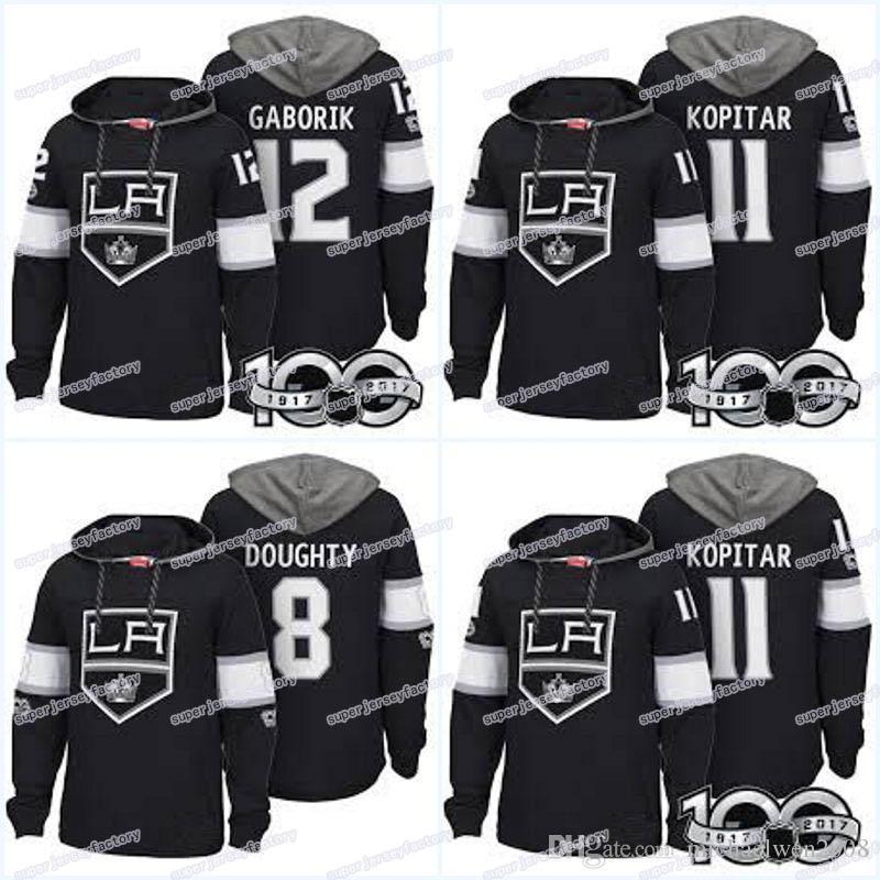 Men 100th Los Angeles Kings Jerseys 8 Drew Doughty 11 Anze Kopitar 17 Ilya Kovalchuk 41 Sheldon Rempal Hoodies Jerseys Sweatshirts