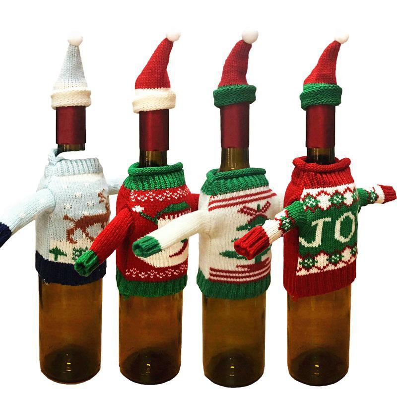 10 ensemble / lot vin rouge sacs de couverture de la bouteille Santas claus portent chandail main ornement nouvelle année dîner de Noël Table Accueil fête