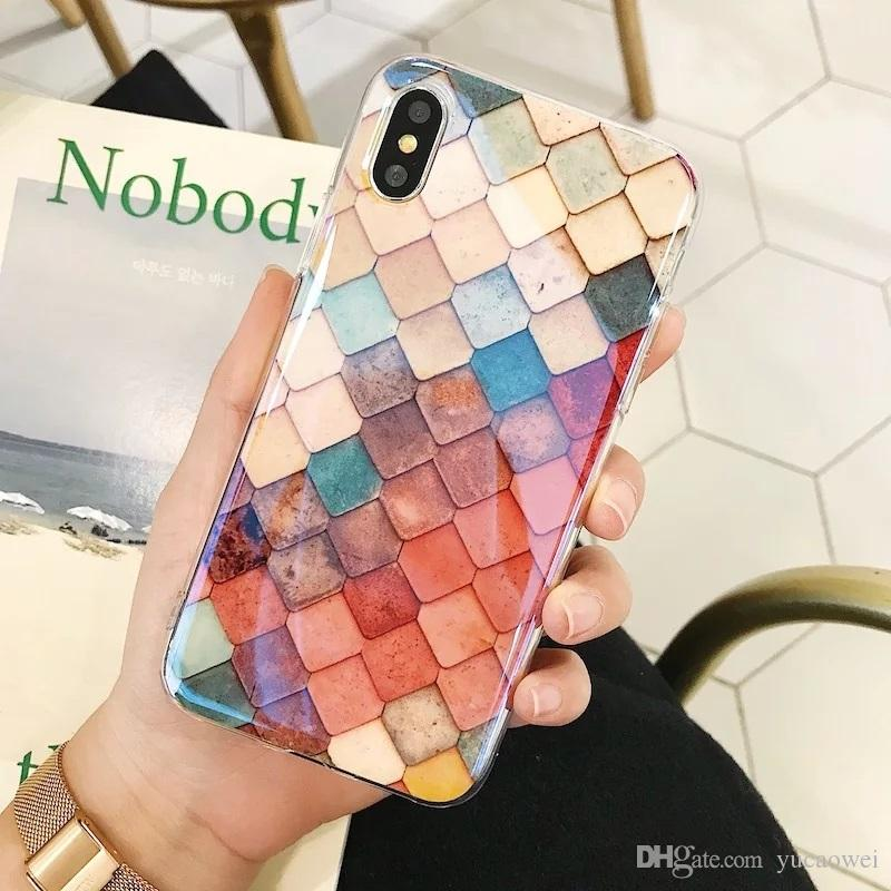 Colorful 3D Cartoon Mermaid Fish Scale Geometry Phone Case For Fundas iphone 6s 7 8 plus Hard Plastic Case For iphone X