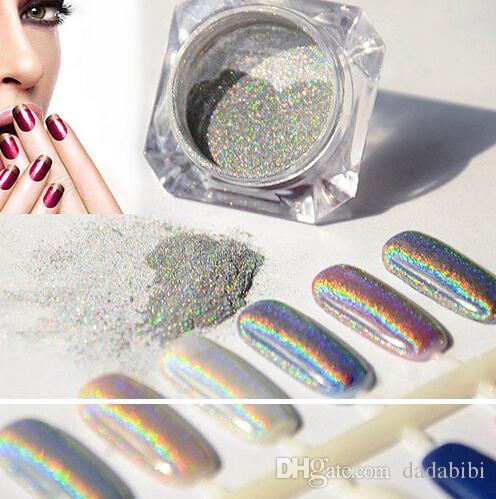 Il nuovo arrivo all'ingrosso-1g laser argento olografico Nails scintilli del chiodo di DIY arte Paillettes Chrome pigmento polvere lucida del laser di magia Specchio