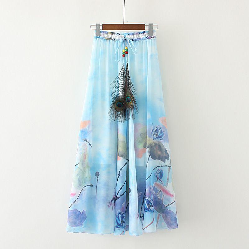 Vintacy Faldas Largas para Mujer Falda Larga de Estampado Floral Floral Rosa Moscada Faldas Largas Fiestas de Boda de Talla grande y Falda de Cintura Alta
