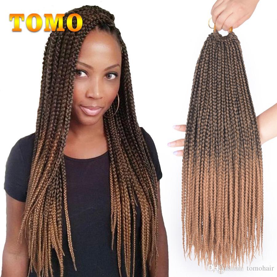 TOMO 14/18/22 Inch Crochet Box Braids Hair Extensions Black Ombre Blonde Brown Burgundy Grey Crochet Braids Kanekalon Synthetic Hair 22Roots