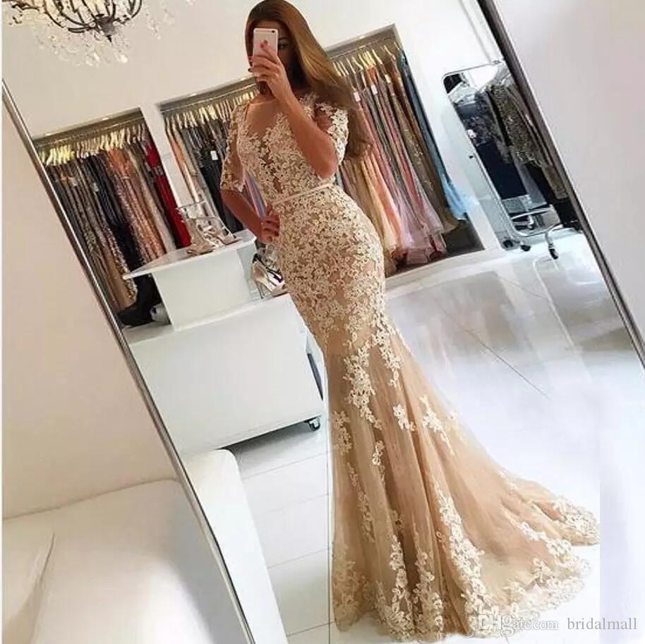 Eleganti 2019 Champagne Pizzo Abiti da sposa sirena Sheer mezze maniche Backless Illusion gioiello collo vestiti convenzionali da sera abiti da festa